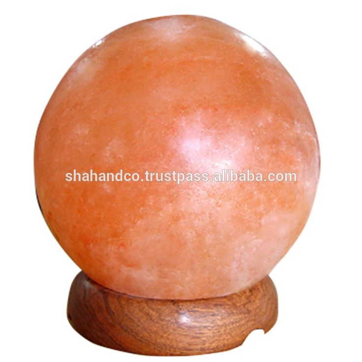 Globe Himalayan Rock Globe Salt Lamps 5.5 x 6 x 6 Inches 3 to 4 Kg Ionic Air Purifier on Wood Base with Cord