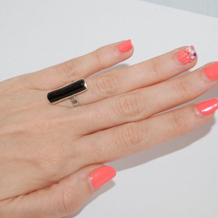 Boho black coral ring, Minimal coral ring, Silver womens ring, Statement ring…
