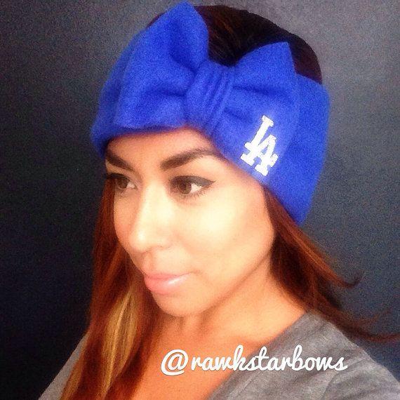 Dodgers LA Ear Warmer Headband/Bow Fleece Turban  by RAWkstarBows