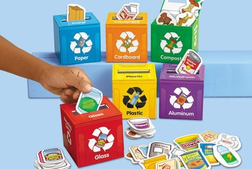 Learn to Recycle! Activity Kit: Kids can learn the importance of recycling with tiles representing items that would be recyclable in everyday life, and depositing them into miniature recycling bins