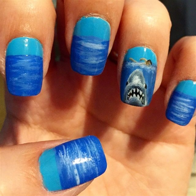 "<p>Via <a href=""http://nailartgallery.nailsmag.com/tracilynne/photo/413939/shark-nails"">Nail Art Gallery</a></p>"