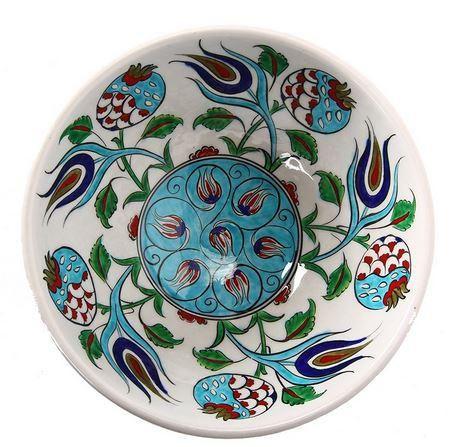 GlobeIn: Iznik Porcelain Bowl with Pomegranate and Tulip Pattern #GlobeIn #handmade #bowl #creative