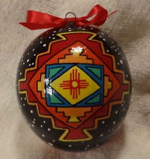 Coyote Cat Dog New Mexico Flag Hand Painted Gourd Fathers Day Gift Ornament
