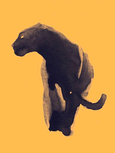Black panther, using a Jane Gardiner watercolor. Wouldn't it make a wonderful tattoo?