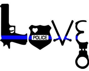 Thin Blue Line Love Police Decal Gun Badge Baton Handcuffs TBL Car Decal