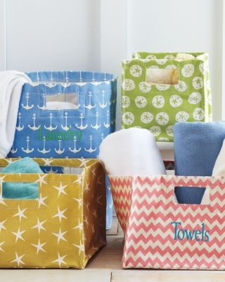 Printed Canvas Storage Bins ~ They're all cute, but I'm sure those of you who know me, know exactly which one I'd pick.  :)