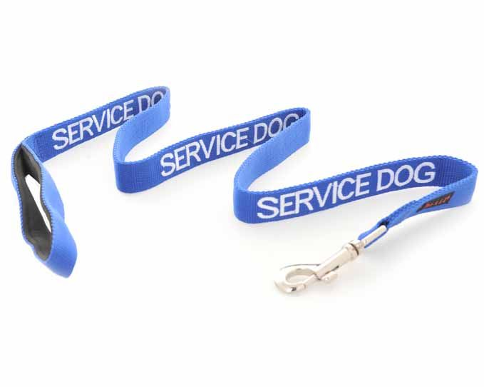 Blue SERVICE DOG lead/leash is 120cm (4ft)   Luxury padded neoprene handle for extra comfort.