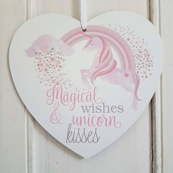 MAGICAL WISHES AND UNICORN KISSES  PINK RAINBOW SPARKLY HEART PLAQUE via Bluelake Interiors. Click on the image to see more!  #Unicorn