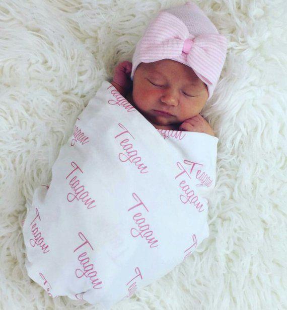 Personalized Swaddle Blanket 100 Organic Cotton Baby Etsy Personalized Swaddle Blanket Personalized Swaddle Newborn Hospital Hats