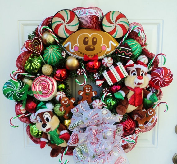 Christmas Disney Wreath with Chip and Dale by SparkleForYourCastle, $179.00