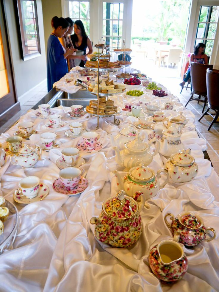 bridal shower teparty decorations%0A Bridal Shower tea party  Buffet style tea  Guests serve themselves