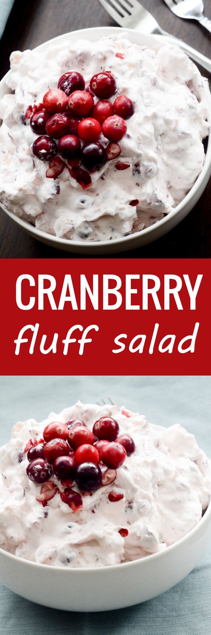 Cranberry Fluff Salad - great side for Thanksgiving - Recipe Diaries #cranberries