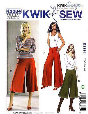 Kwik-Sew-Sewing-Pattern-3384-Womens-XS-XL-Pants-Gaucho-OOP