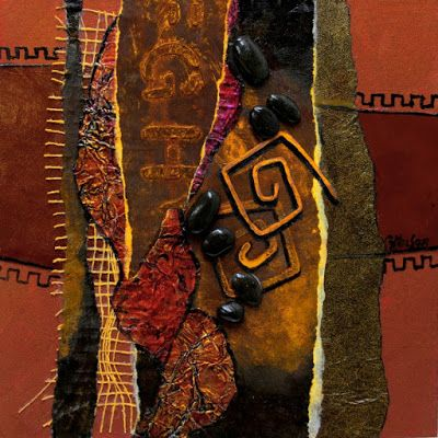 """Copper and Rust"" mm collage by Carol Nelson The unusual thing about this painting is the background color. At Home Depot, I came..."