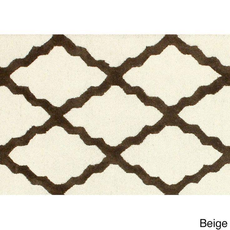 nuLOOM Hand-hooked Alexa Moroccan Trellis Wool Door Mat Rug (2' x 3') (Beige) (Oriental)