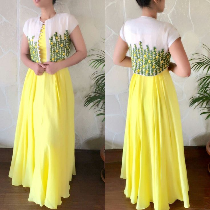 Bright yellow kurti | Embroidered Coat | Best for Haldi Function