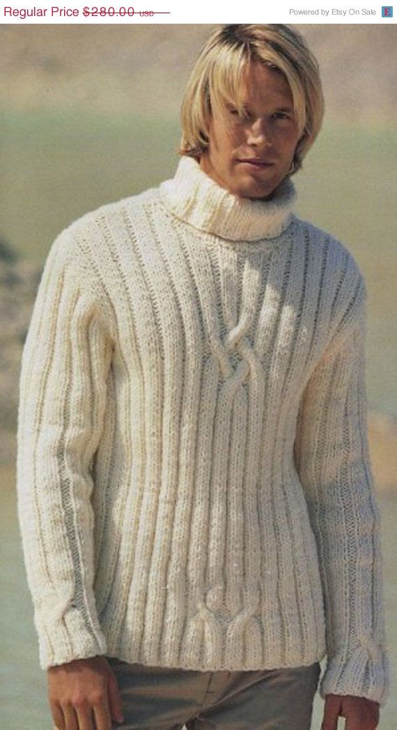 Knitting Pattern Guy Coupling : ON SALE MADE To Order mens sweater hand knitted men ...