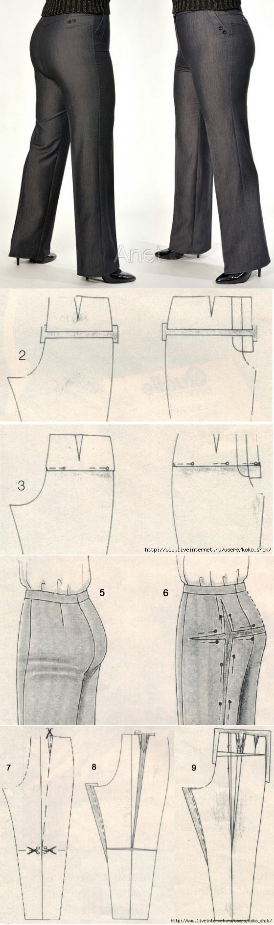 Ajuste los Pantalones del modelo. Para los pantalones sentado muy bien