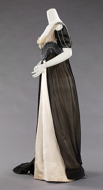 House of Worth (French, 1858–1956) Designer:Attributed to Jean-Philippe Worth (French, 1856–1926) Designer: Attributed to Jean-Charles Worth (French, 1881–1962) Date:1909–11 Culture:French Medium:silk, metal, glass
