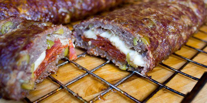 Smoked Pepperoni Pizza Fatty Recipe - done in Bradley Electric Smoker