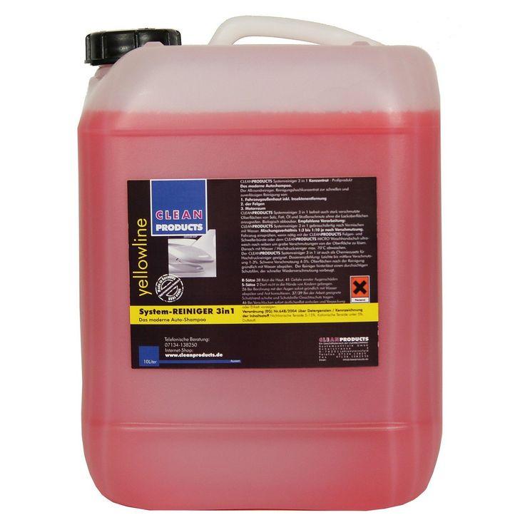 CLEANPRODUCTS Fahrzeug-Außen-Reiniger 3 in 1 (Konzentrat) -10 kg  Das moderne Autoshampoo: Shampoo, Insektenentferner / Insektenreiniger, Felgenreiniger und Motorraumreiniger in einem Produkt. 3 in 1 System-Reinigungsmittel für die Fahrzeugreinigung und Fahrzeugpflege. Ideal für die Autoaufbereitung bzw. Fahrzeugaufbereitung.