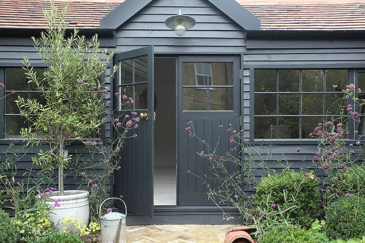 Door - A Beautiful Home Tour Of A Traditional British Summerhouse In London Painted In Little Greene's French Grey And Farrow & Ball's Off Black Photos By Light Locations