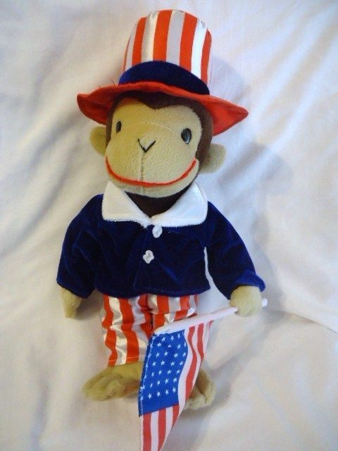 Curious George Plush Monkey Stuffed Animal Patriotic Uncle Sam USA Toy $19.98 on sale | #CuriousGeorge #Monkeys #toys @Brieanna Owens toys store