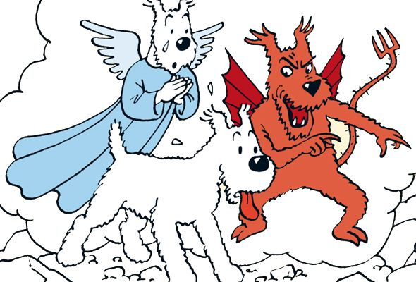 Snowy's angel and devil - Tintin in Tibet