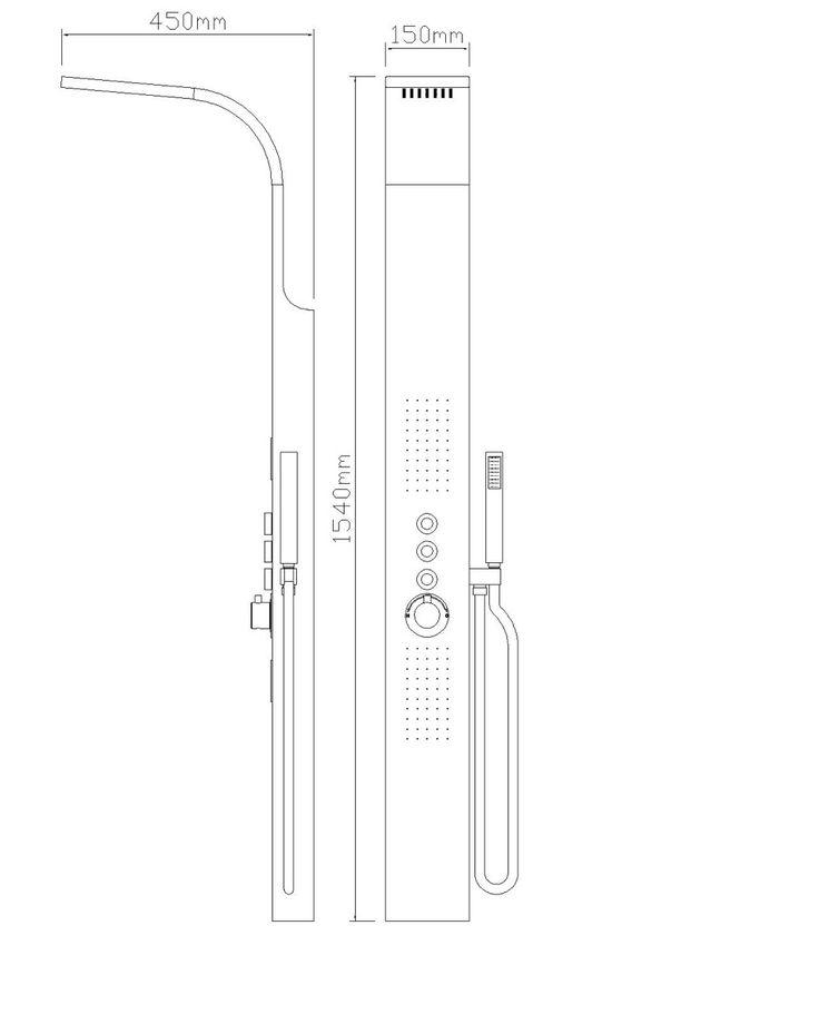 Architeckt Splash Thermostatic Shower Tower Panel - Dimensions