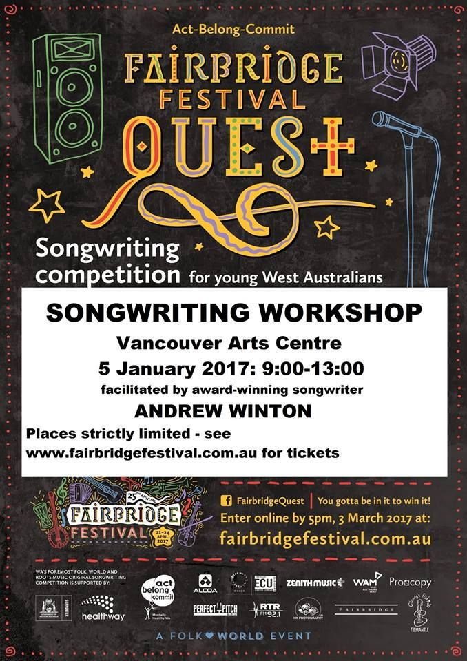 Is your child a budding musician?   The Fairbridge Festival values musical diversity and we would love to see lots of young people contributing to the mix for Fairbridge Quest.   If you live in or around Albany, this song writing workshop is a great opportunity for your child to learn about songwriting from a fantastic professional musician.   Enrol now as spaces are limited!