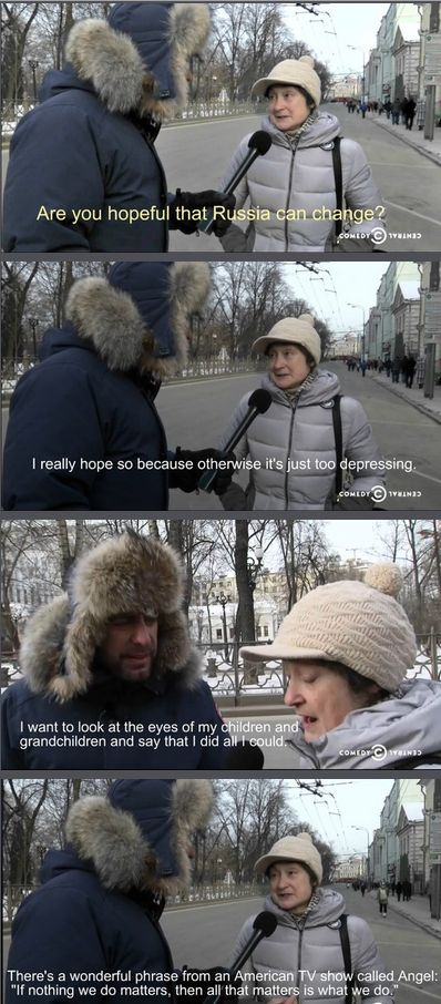 A Russian woman quoted Angel in a Daily Show story on the anti-gay laws in Russia.