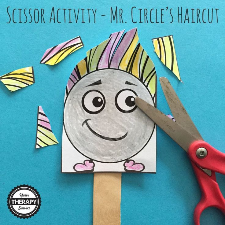 Mr. Circle's Haircut-Scissor Activity from Your Therapy Source. Pinned by SOS Inc. Resources. Follow all our boards at pinterest.com/sostherapy/ for therapy resources.