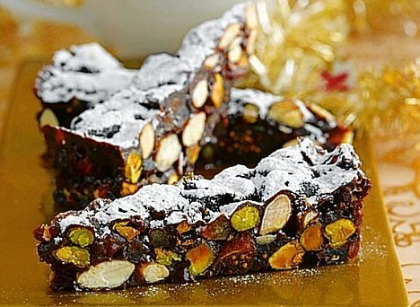 Panforte #Christmas baking © http://www.dailymail.co.uk/femail/food/article-1236638/Continental-Christmas-recipes-Pistachio-panforte.html