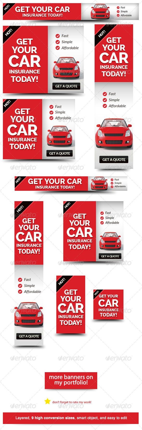 Cheap car insurance web banner ad template psd buy and download http