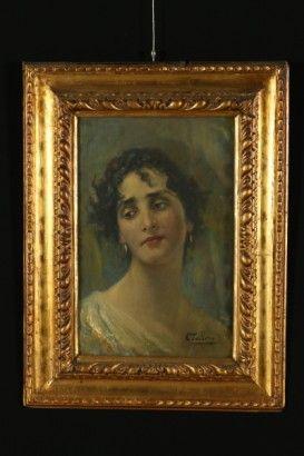Cesare Tallone (1853-1919), Ritratto femminile