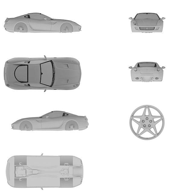 4k Ultra HD high resolution blueprint of Ferrari | 599 GTB Fiorano