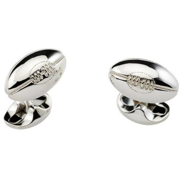 Rugby Ball Cufflinks Solid Sterling Silver