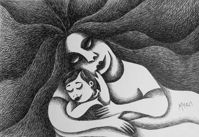 MATERNIDAD. Plumilla - tinta. Conéctate con tus emociones y sentimientos a través del arte. | Connect with your emotions and feelings through art. #dibujo #arte #art