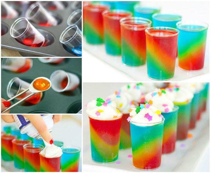 slanted rainbow jello shots