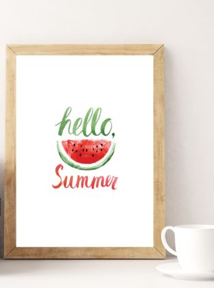 Free Hello Summer Printable #watercolor #watermelon