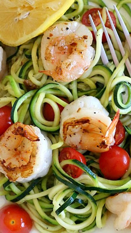 Zucchini Noodles (Zoodles) with Lemon-Garlic Spicy Shrimp ~ Says: It took less than 20 minutes to make, start to finish and it was DELICIOUS!