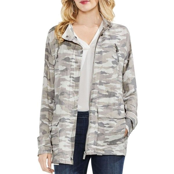 Vince Camuto Avenue Camo Belted Military Jacket ($149) ❤ liked on Polyvore featuring outerwear, jackets, midnight fog, military camouflage jacket, army camo jacket, cotton army jacket, belted jacket and cotton field jacket