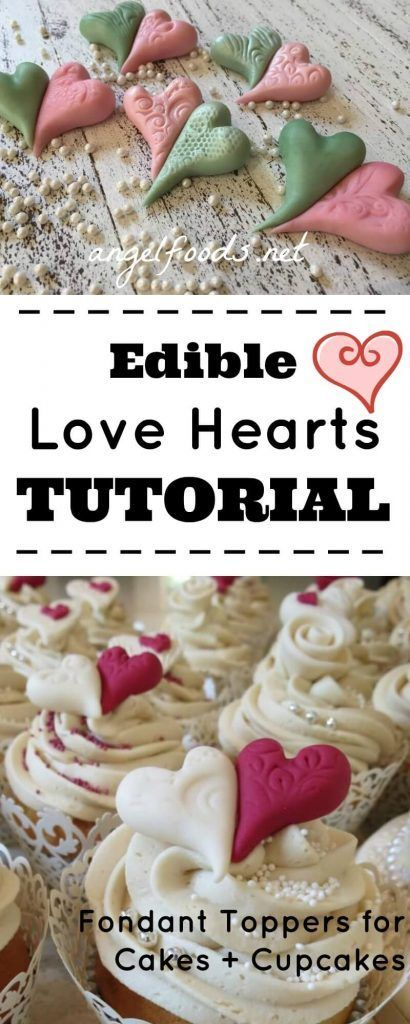Edible Love Hearts Tutorial | This incredibly quick edible fondant (or gum paste) love heart tutorial for cupcakes or cakes is easier than you think! | http://angelfoods.net/edible-love-hearts-tutorial/