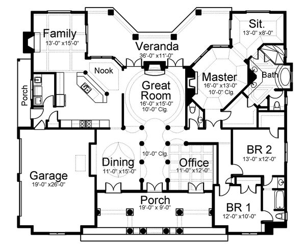 First Floor Plan of House Plan 72112
