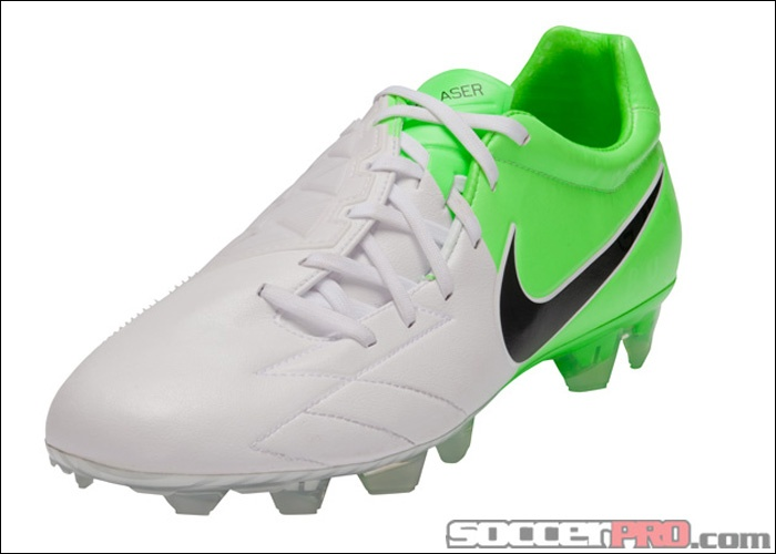 ... nike t90 laser iv kangaroo leather fg soccer cleats white with electric  green and black.
