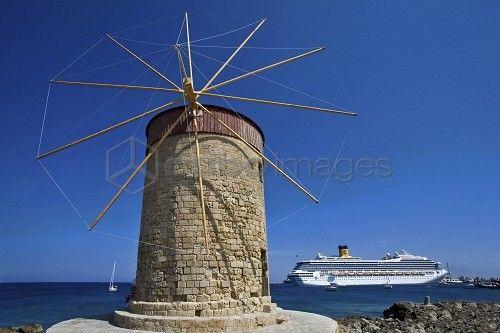 Mandraki Harbour, Rhodes, Dodecanese, Greek Islands, Greece, Europe