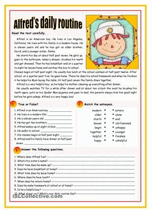 An elementary text on daily routine followed by three comprehension exercises. - ESL worksheets