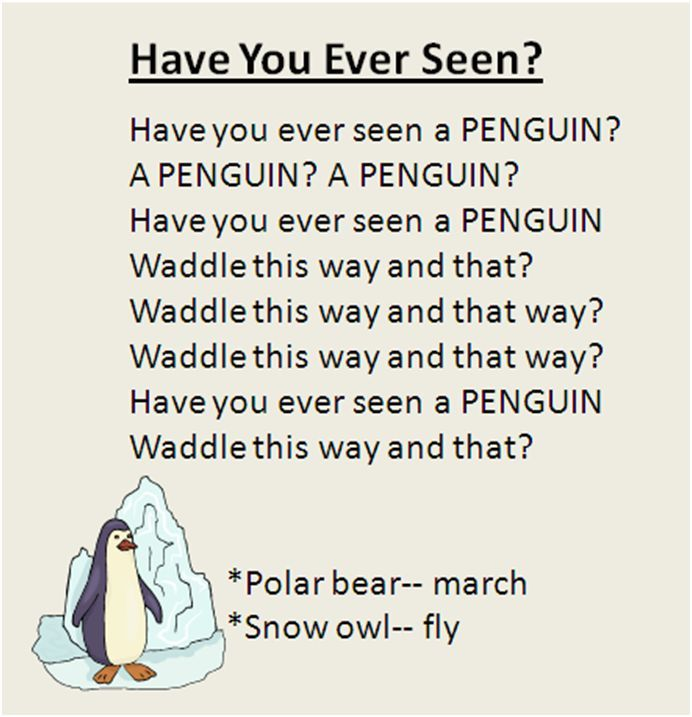 """""""Have You Ever Seen?"""" Polar animal movement song, great for the Winter season. To the tune """"Did You Ever See a Lassie?"""":"""