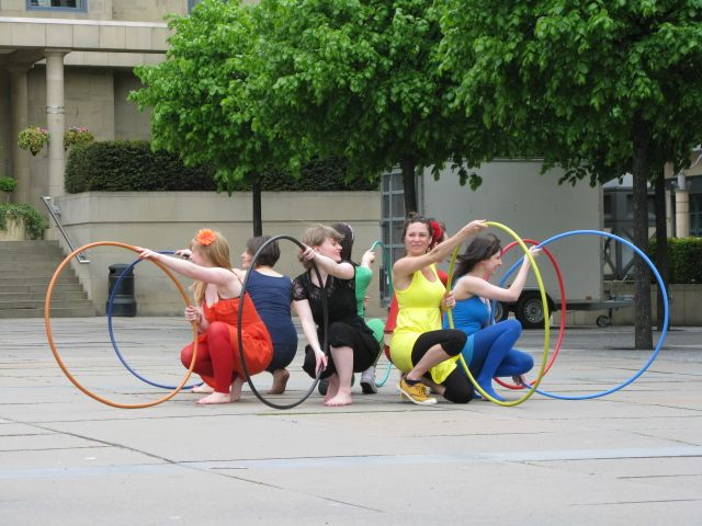 The Arts Tree Hula Hoopers do a pop-up performance as part of Voluntary Arts Week 2012