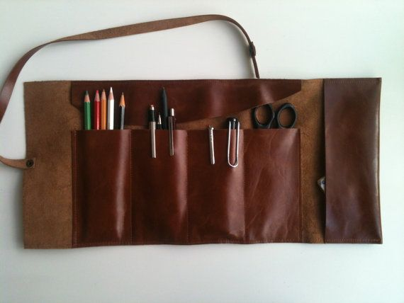Artist's Tool Bag/Leather Pencil Case/Travel Bag on Etsy, $59.77